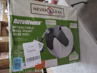 AMES 2416500 NeverLeak AutoWinder Retractable Wall Mount Reel 100-Foot Hose Capacity (RETAIL $166)
