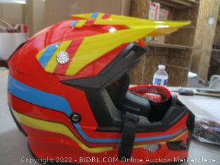 GLX Unisex-Child GX623 DOT Kids Youth ATV Off-Road Dirt Bike Motocross Helmet Gear Combo Gloves Goggles for Boys & Girls (Retro Red, Medium) (Cracked)