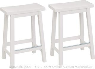 Classic Solid Wood Saddle-Seat Kitchen Counter Stool with Foot Plate 24 Inch, White, Set of 2 (online $60)