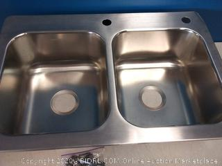 Elkay 33-in x 22-in Stainless Steel Double Equal Bowl Drop-In or Undermount 2-Hole Residential Kitchen Sink (corner slightly dented) online $179