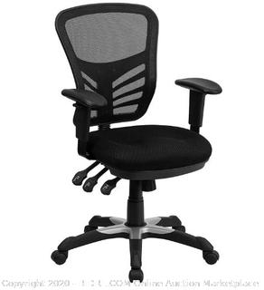 Mid-Back Black Mesh Multifunction Executive Swivel Ergonomic Office Chair with Adjustable Arms [HL-0001-GG] ($206 Retail)
