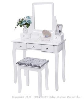 BEWISHOME - Vanity Set with Mirror & Cushioned Stool ($169 Retail)