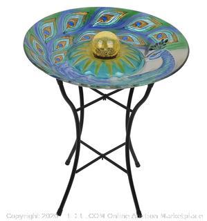 """PeakTop - Solar Glass Birdbath, 18"""""""