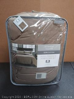 cotton garment washed full/queen 3-piece bed set