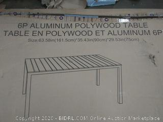 6ft aluminum poly-wood table grey