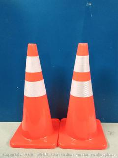 28'' Orange Traffic Safety Cones 28 inch with Reflective Collar Road Packing PVC Plastic - 2 Pack