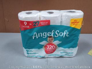 Angel Soft 9 huge toilet paper rolls 2 ply