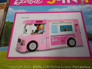 Barbie 3-in-1 DreamCamper Vehicle, approx. 3-ft, Transforming Camper with Pool, Truck, Boat and 50 Accessories (online $79)