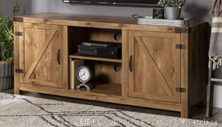 """Walker Edison Furniture Company Farmhouse Barn Wood Universal Stand for TV's up to 64"""" Flat Screen Living Room Storage Cabinet Doors and Shelves Entertainment Center, 58 Inch, Barnwood (Online $297)"""