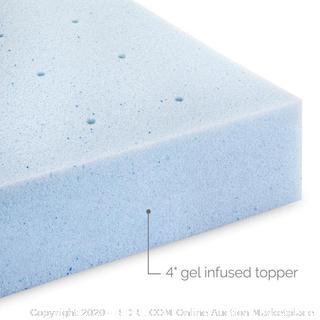 "Lucid Memory Foam Mattress Gel Topper Ventilated 4"" California king"
