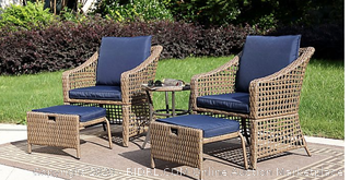 Bee and Willow Home 5 piece Wicker Patio Seating set including table