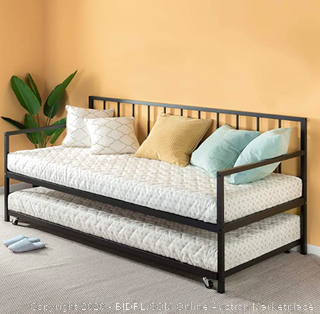 Zinus Eden Twin Daybed and Trundle Set / Premium Steel Slat Support / Daybed and Roll Out Trundle Accommodate Twin Size Mattresses Sold Separately (Retails $170)