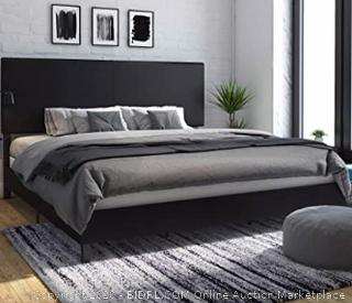 DHP Janford Upholstered Bed, King, Black (Retails $200)
