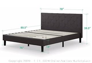 Zinus FDPB-K Shalini Upholstered Diamond Stitched Platform Bed / Mattress Foundation / Easy Assembly / Strong Wood Slat Support / Dark Grey, King (Retails $250)