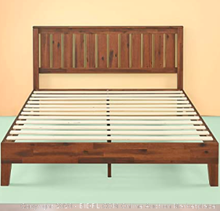 Zinus 12 Inch Deluxe Solid Wood Platform Bed with Headboard/No Box Spring Needed/Wood Slat Support/Antique Espresso Finish, King (rack 14 & 15) (Retails $330)