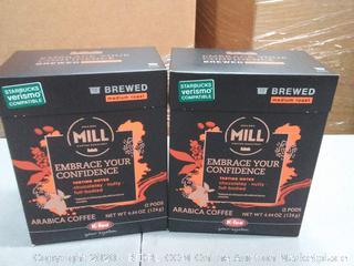 mr. and mrs. mill medium roast arabica coffee 12 pods X2