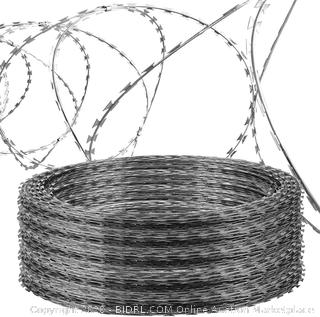 Best Brose Razor Wire Galvanized Garden Fence Clipped Barbed Wire Razor Ribbon Barbed Wire 18 inches 5 Coil 50 Feet Per Roll 250 Feet(250FT) (Online $130)