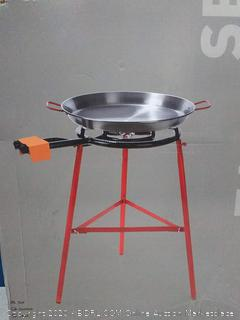 Garcima Tabarca Paella Pan Set with Burner, 20 Inch Carbon Steel Outdoor Pan and Reinforced Legs (online $134)