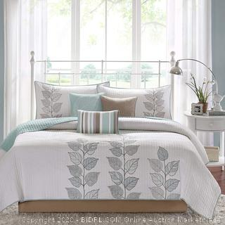 Madison Park Caelie King Size Quilt Bedding Set - Aqua, White, Leaf Embroidery – 6 Piece Bedding Quilt Coverlets – Ultra Soft Microfiber Bed Quilt King / Cal King (online $95)