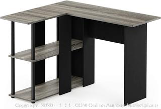 Furinno Abbott L-Shape Desk with Bookshelf, French Oak Grey/Black (board cracked)