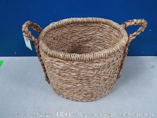 Household Essentials Large Wicker Floor Storage Basket with Braided Handle, Light Brown (online $74)