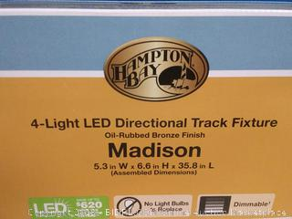 Hampton Bay Madison 3 ft. 4 Light Rubbed Bronze LED Fixed Track with 400 LM (Factory Sealed) (online $109)
