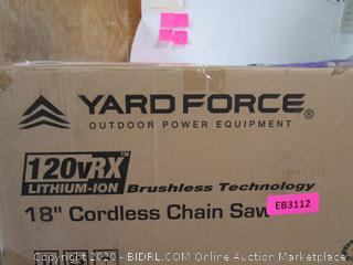"Yard Force 18"" Cordless Chain Saw"
