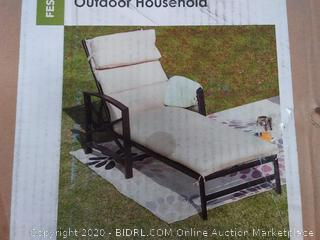 Metal Outdoor Chaise Lounge with Beige Cushions 1 Count (online $260)