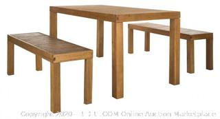 Dario 3-piece Dining Set With 59inch L Table And 2 Backless Benches