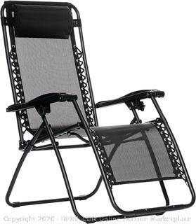 Outdoor Zero Gravity Lounge Folding Chair, Black