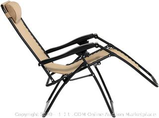 Outdoor Zero Gravity Lounge Folding Chair, Beige