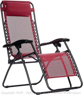Outdoor Zero Gravity Lounge Folding Chair, Burgundy (online $64)