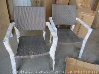 All-Weather Wicker Square Stacking Chairs, Qty 2 (Retail $120)