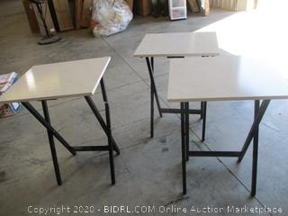 Faux White Marble Folding Snack Tray Tables (Qty 3, 1 is Damaged, See Pictures)