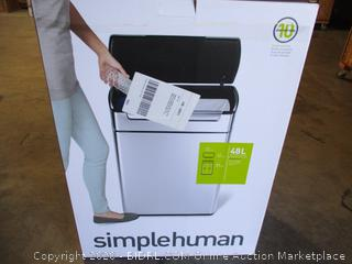 simplehuman 48 Liter / 12.7 Gallon Touch-Bar Dual Compartment Kitchen Recycling Trash Can, Brushed Stainless Steel, 13 Gallon ($169 Retail)