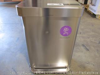 simplehuman CW2023 55 Liter / 14.5 Gallon Rectangular Kitchen Step Liner Pocket, Brushed Stainless Steel trash can ($179 Retail)