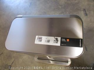 simplehuman 58 Liter Rectangular Hands-Free Dual Compartment Recycling Kitchen Step Trash Can with Soft-Close Lid, Brushed Stainless Steel (Small Dent, See Pics, $199 Retail)