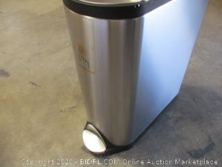 simplehuman 45 Liter / 11.9 Gallon Stainless Steel Butterfly Lid Kitchen Step Trash Can, Brushed Stainless Steel ($159 Retail)