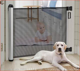 """Baby Safety Gate, Minkind Extension Extra Wide Child Gate Indoor Outdoor Retractable Gate for Doorways, Stairs, Doors, 34.6"""" Tall, Extends up to 48"""" Wide, Black"""