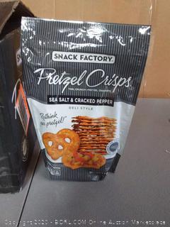 Snack Factory pretzel crisps sea salt and. cracked pepper