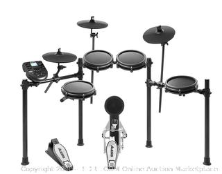 Alesis drum Nitro mesh kit 8-piece all mesh electronic drum kit with super solid aluminum rack 385 sounds 60 play along tracks include cables, drum sticks & drum key included(Retails $379)(factory sealed)