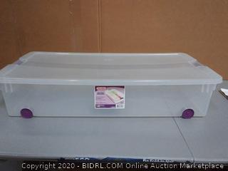 Sterilite 60-Quart Clear View Wheeled Latch Box, sweet plum
