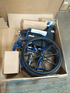 Drive Blue Streak wheelchair 18in flip back desk arms Swing Away footrest