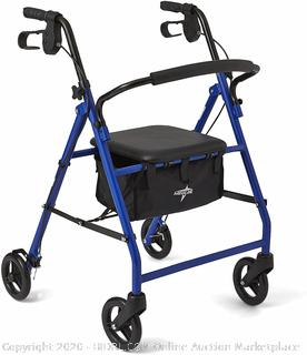 """Medline Steel Foldable Adult Transport Rollator Mobility Walker with 6"""" Wheels, Blue (Online $58)"""