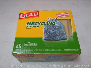 Glad Tall Kitchen Drawstring Recycling Bags - 13 Gallon Blue Trash Bag - 45 Count