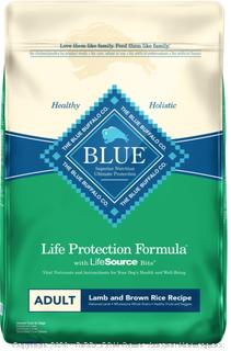 Blue Buffalo Life Protection Formula Natural Adult Lamb and Brown Rice Dry Dog Food, 15 lbs. (Online $34)