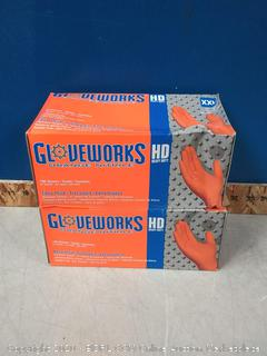 2 Boxes Orange Nitrile Diamond Texture Industrial Powder-Free 8 Mil, Disposable Gloves (100-Count each) - 2X-Large (online $40)