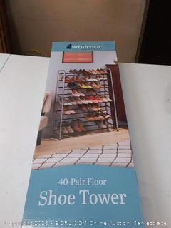 40 Pair Tower Whitmor Freestanding Chrome shoes szvvdd4542