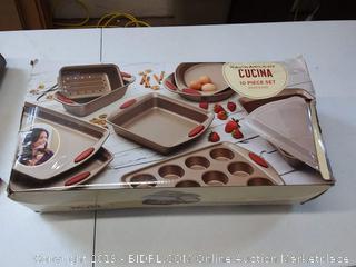 Rachael Ray Cucina Nonstick Bakeware 10-Piece Set, Latte Brown