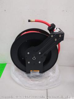 """MaxWorks 80720 Auto Rewind Retractable Reel with 3/8"""" x 50' Air Hose with Brass Fittings (Online $69.99)"""